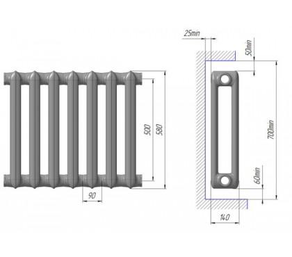 Радиатор чугунный МС-140 М 500 Нижний Тагил 4 секции